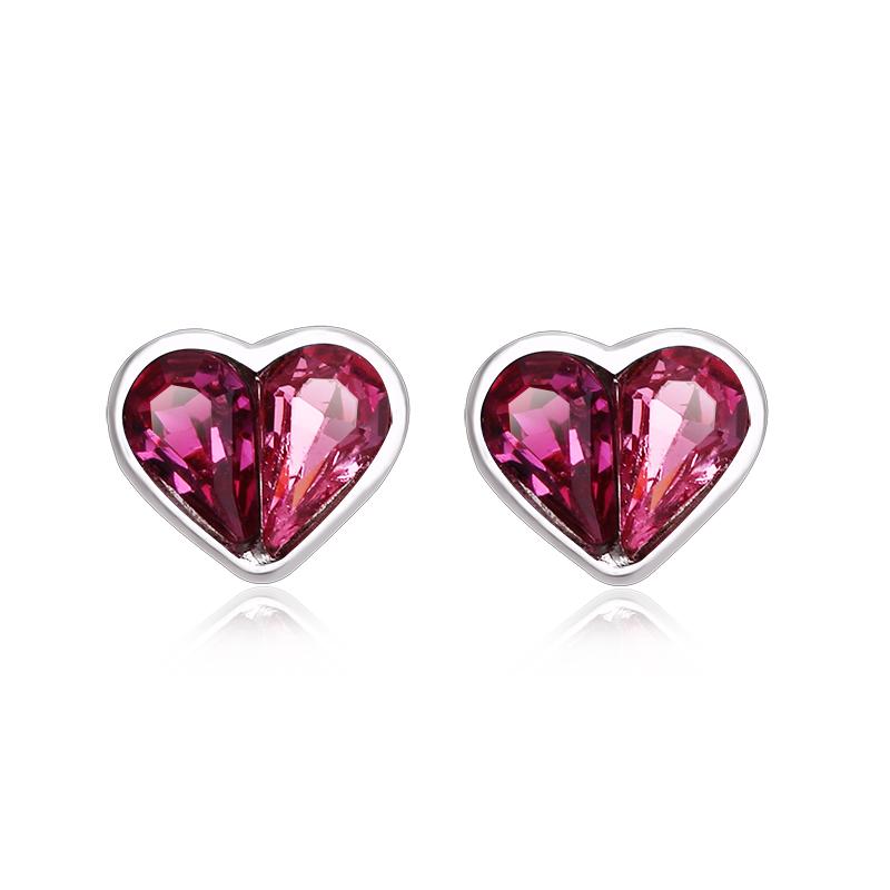 Heart Shaped Pink Swarovski Crystal Silver Earrings