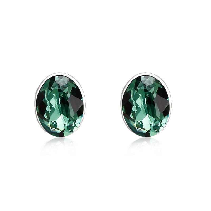 01435c130 Emerald Green Swarovski Crystal Silver Stud Earrings