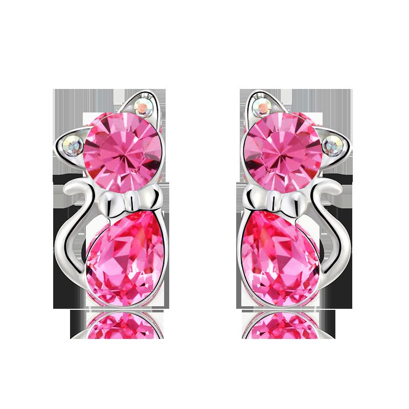 Aretes de Gatito de Cristal Swarovski Color Rosa