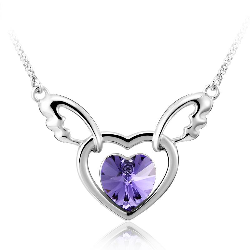 744b8cd061ab Gorgeous Purple Rhodium Plated Swarovski Crystal Heart Shaped Necklace