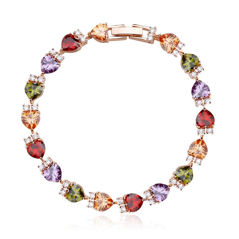 7bf6760b465b Pulsera de Corazones Con Cristales de Colores de Swarovski