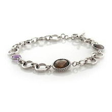 Authentic Amethyst and Smoked Quartz .925 Silver Bracelet