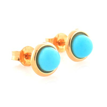 Round Turquoise 14K Solid Gold Earrings