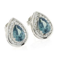 Alexandrite Pear Cut Silver Stud Earrings