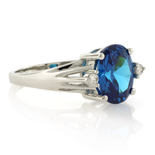 Oval Cut Blue Topaz Gemstone Silver Ring