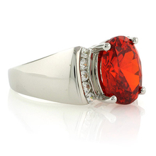 Big Mexican Fire Opal Silver Ring
