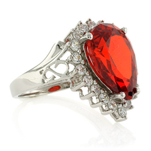Pear Cut Mexican Fire Opal Silver Ring