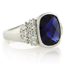 Oval Cushion Cut Sapphire Sterling Silver Ring