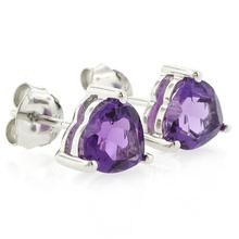 Amethyst Heart Stud Earrings