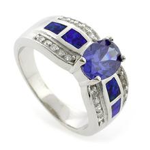 Big Tanzanite and Australian Opal .925 Silver Ring