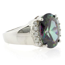 Huge Mystic Topaz Gemstone Ring in Sterling Silver