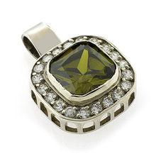 Vintage Inspired Tourmaline Silver Pendant