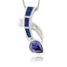 Australian Opal with Pear Cut Tanzanite Sterling Silver Pendant