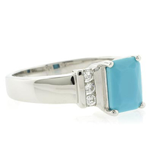 Emerald Cut Turquoise Silver Ring