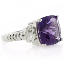 Cushion Cut Amethyst Sterling Silver Ring