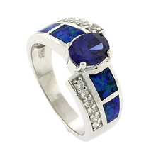 Oval Cut Tanzanite with Australian Opal Silver Ring