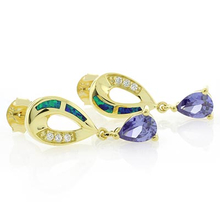 Australian Opal & Tanzanite Dangling Gold Plated Earrings