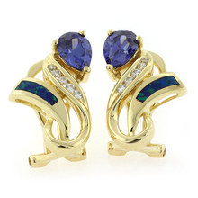 Very Elegant Opal & Tanzanite Dangling Gold Plated Earrings