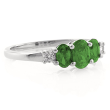 3 Emerald Gemstone .925 Sterling Silver Ring