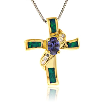 Oval Cut Tanzanite and Blue Opal Gold Plated Silverv Cross Pendant