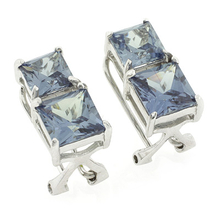 2 Square Cut Alexandrite Sterling Silver Earrings