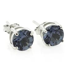 Round Cut Alexandrite Stud Earrings
