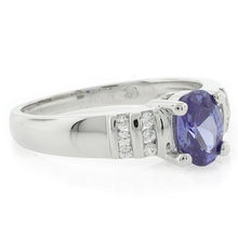Solitaire Oval Cut .925 Silver Tanzanite Ring