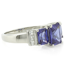 3 Stone Tanzanite Sterling Silver Ring