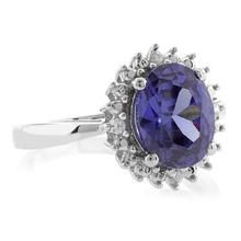 Oval Cut Tanzanite Princess Kate Style Silver Ring