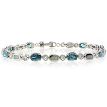 Color Change Alexandrite Stones and White Opal Sterling Silver Bracelet