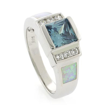 Alexandrite and White Opal Sterling Silver Ring