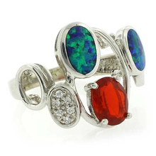 Authentic Mexican Fire Opal and Australian Opal Silver Ring