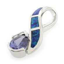 Pear Cut Tanzanite and Blue Opal Pendant in .925 Silver