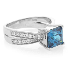 Square Blue Topaz Fashion Sterling Silver Ring