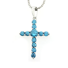 Silver Cross Blue Topaz Fashion Pendant