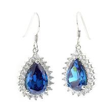 Pear Cut Blue Topaz Sterling Silver Earrings
