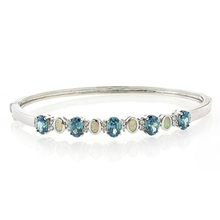 White Opal and Oval Cut Alexandrite Stones Sterling Silver Bangle