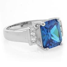 Big Emerald Cut Blue Topaz .925 Silver Ring