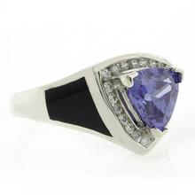 Onyx and Tanzanite Silver Ring