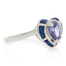 Heart Cut Tanzanite and Australian Opal Ring