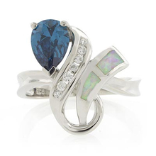 White Opal with Pear Cut Alexandrite Sterling Silver Ring