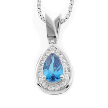 Pear Cut Blue Topaz Silver Slide Pendant