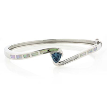 Trillion Cut Alexandrite and White Opal Sterling Silver Bangle
