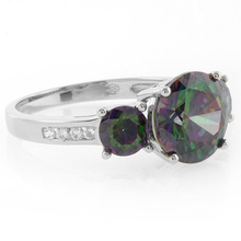 .925 Sterling Silver 3 Mystic Topaz Gemstone Ring