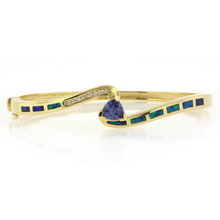 Trillion Cut Tanzanite and Australian Opal Gold Plated Bangle