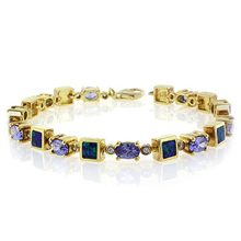 Oval Cut Tanzanite Stones and Australian Opal Gold Plated Bracelet