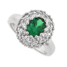 Emerald and Simulated Diamonds Silver Ring