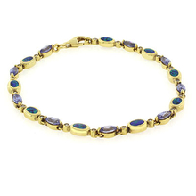 Marquise Cut Tanzanite Stones and Australian Opal Gold Plated Bracelet
