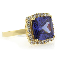 Cushion Cut Tanzanite Gold Plated Sterling Silver Ring