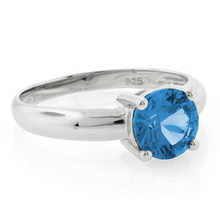 Solitaire Blue Topaz .925 Sterling Silver Ring